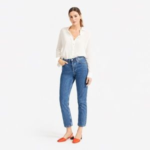 Everlane Clean silk relaxed shirt in off-white, xs